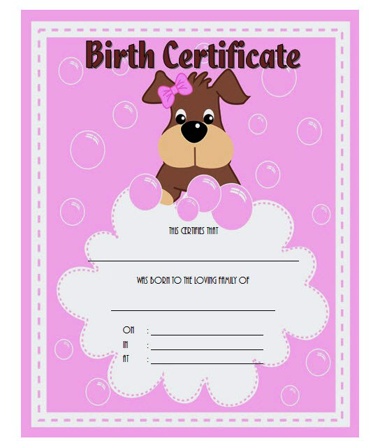 Pin On Puppy Birth Certificate With Puppy Birth Certificate Free Printable 8 Ideas