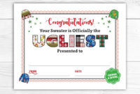 Pin On Ugly Sweater Party inside Best Free Ugly Christmas Sweater Certificate Template