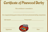 Pinewood Derby Certificate Template: 9 Certificates (All regarding Pinewood Derby Certificate Template