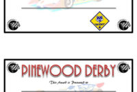 Pinewood Derby Competetion Fastest Car Prizes | Diy Trophies for Unique Pinewood Derby Certificate Template
