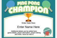 Ping Pong Certificate Template — Recognize The Champ In Your regarding Unique Table Tennis Certificate Templates Editable