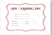 Pink Frame Gift Certificate Template – Certificate Templates regarding Valentine Gift Certificates Free 7 Designs