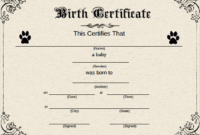 Pinnayan Gluck On Puppies | Birth Certificate Template in Unique Pet Birth Certificate Templates Fillable