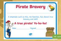 Pirate Bravery Certificate (Teacher Made) throughout Best Bravery Certificate Templates