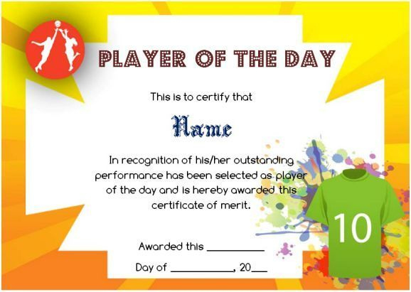 Player Of The Day Certificate Template In 2020 | Certificate In Player Of The Day Certificate Template Free