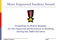 Ppt – Most Improved Student Award Powerpoint Presentation in Most Improved Student Certificate