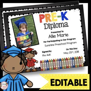 Pre K Diplomas - Editable - Chalkboard - Prek - Pk Certificates Graduation Inside Editable Pre K Graduation Certificates