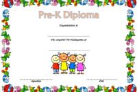 Pre-Kindergarten Diploma Certificate Free (Template 2) In intended for Pre Kindergarten Diplomas Templates Printable Free