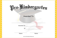 Pre-Kindergarten Graduation Certificate Template Download intended for Pre Kindergarten Diplomas Templates Printable Free