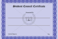 Precious Student Council Certificate Download-123Certificate for Fresh Student Council Certificate Template Free