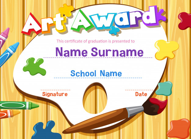 Premium Vector | Certificate Template For Art Award With For Art Award Certificate Template