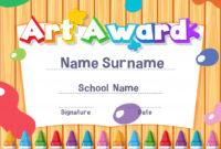 Premium Vector | Certificate Template For Art Award With Paints intended for Art Award Certificate Template