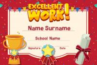 Premium Vector | Certificate Template For Excellent Work with Great Work Certificate Template
