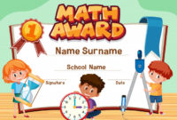 Premium Vector | Certificate Template For Math Award With for Math Award Certificate Template