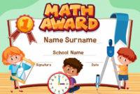 Premium Vector | Certificate Template For Math Award With inside Math Award Certificate Templates
