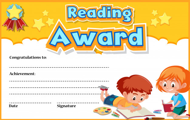 Premium Vector | Certificate Template For Reading Award With For Reading Achievement Certificate Templates
