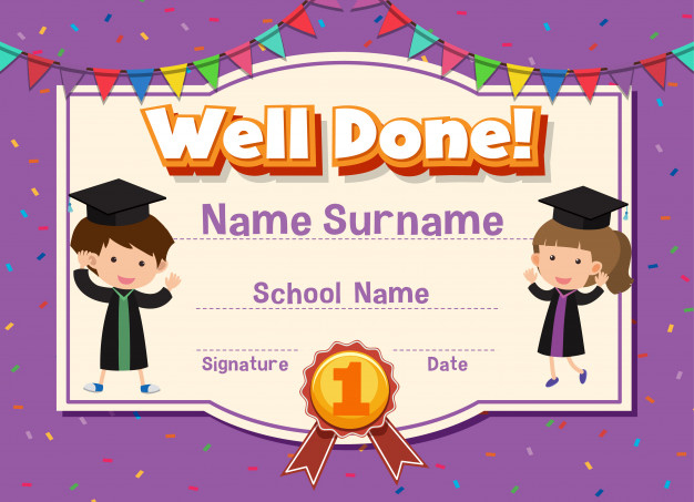 Premium Vector | Certificate Template For Well Done With Throughout Unique Well Done Certificate Template