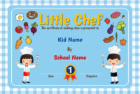 Premium Vector | Little Chef Cooking Class Diploma Certificate in Certificate Of Cooking 7 Template Choices Free