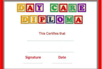 Preschool Certificates intended for Daycare Diploma Certificate Templates
