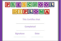 Preschool Certificates pertaining to Best Daycare Diploma Certificate Templates