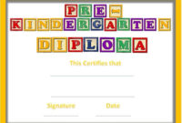 Preschool Certificates throughout Best Pre Kindergarten Diplomas Templates Printable Free