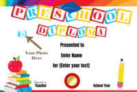 Preschool Certificates throughout Pre K Diploma Certificate Editable Templates