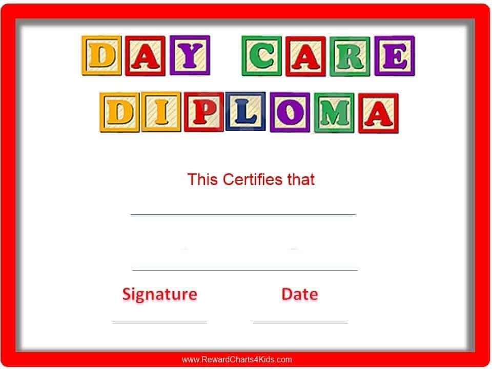 Preschool Certificates With Regard To Daycare Diploma Template Free