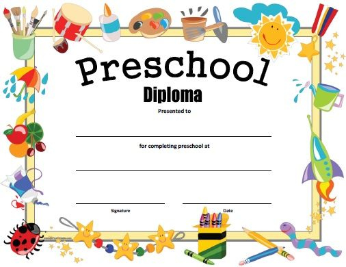 Preschool Diploma - Free Printable | Kindergarten Graduation regarding Best Preschool Graduation Certificate Free Printable