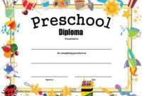 Preschool Diploma – Free Printable | Kindergarten Graduation within Best Pre K Diploma Certificate Editable Templates
