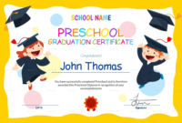 Preschool Graduation Certificate Template Free In 2020 intended for Fresh 10 Kindergarten Diploma Certificate Templates Free