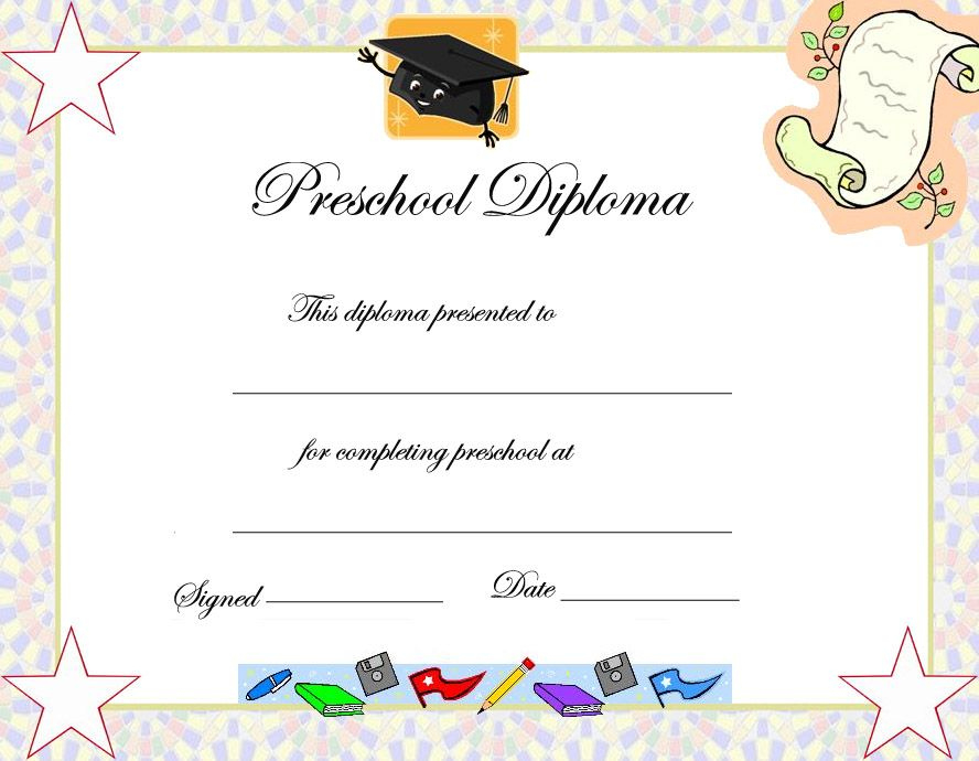 Preschool Graduation Certificate Template | Preschool For Unique 10 Kindergarten Graduation Certificates To Print Free