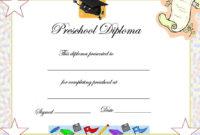 Preschool Graduation Certificate Template   Preschool within Daycare Diploma Certificate Templates