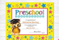 Preschool Graduation Diploma Certificate – Instant Download Pdf File –  School Party – Editable Text File- Student – Teacher intended for Fresh Editable Pre K Graduation Certificates