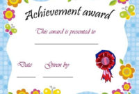 Printable Achievement Award Certificate | Certificate Of within Kindergarten Certificate Of Completion Free