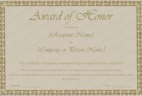 Printable Award Of Honor Certificate Template – For Word with Honor Award Certificate Template