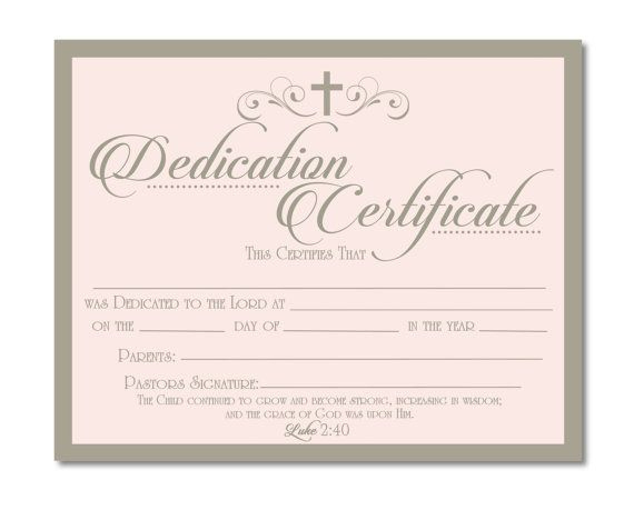 Printable Baby Dedication Certificate - Digital File - You with Best Baby Dedication Certificate Templates