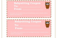 Printable Babysitting Coupons – Free Baby Sitting Voucher pertaining to Baby Shower Gift Certificate Template Free 7 Ideas