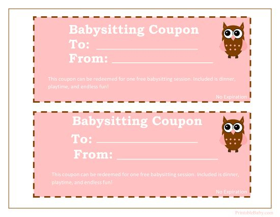 Printable Babysitting Coupons - Free Baby Sitting Voucher Pertaining To Baby Shower Gift Certificate Template Free 7 Ideas