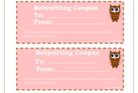 Printable Babysitting Coupons – Free Baby Sitting Voucher with regard to Best Free Printable Babysitting Gift Certificate