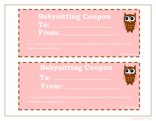 Printable Babysitting Coupons - Free Baby Sitting Voucher With Regard To Best Free Printable Babysitting Gift Certificate
