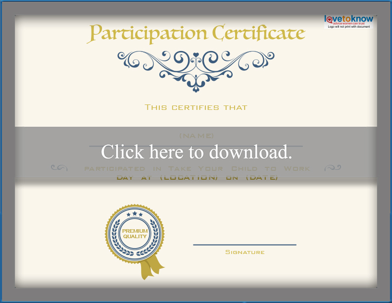 Printable Bring Your Child To Work Day Certificates | Lovetoknow inside Certificate For Take Your Child To Work Day