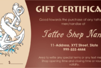 Printable -Business-Gift-Certificate-Template (Pdf) | Gift for Tattoo Gift Certificate Template Coolest Designs