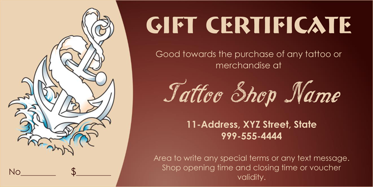 Printable  Business Gift Certificate Template (Pdf) | Gift For Tattoo Gift Certificate Template Coolest Designs