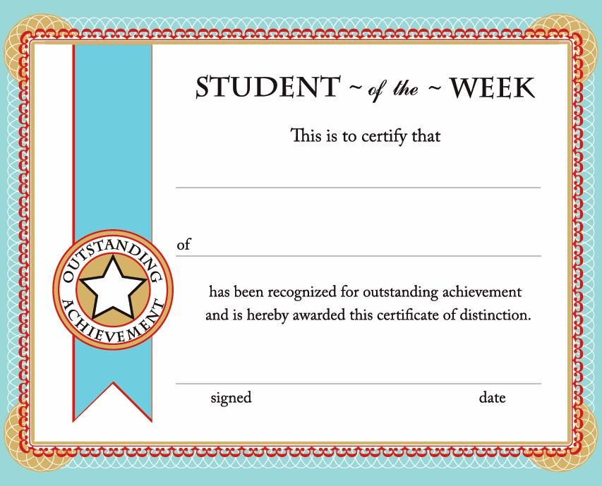 Printable Certificates & Awards | Calloway House | Student with Student Of The Week Certificate