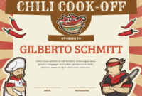 Printable Chili Cook Off Award Certificate Template with Fresh Chili Cook Off Award Certificate Template Free