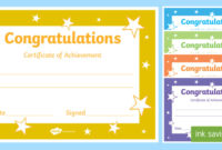 Printable Congratulations Certificate Template with regard to Best Congratulations Certificate Template 10 Awards