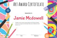 Printable Elementary Art Award Certificate Template with regard to Art Award Certificate Template