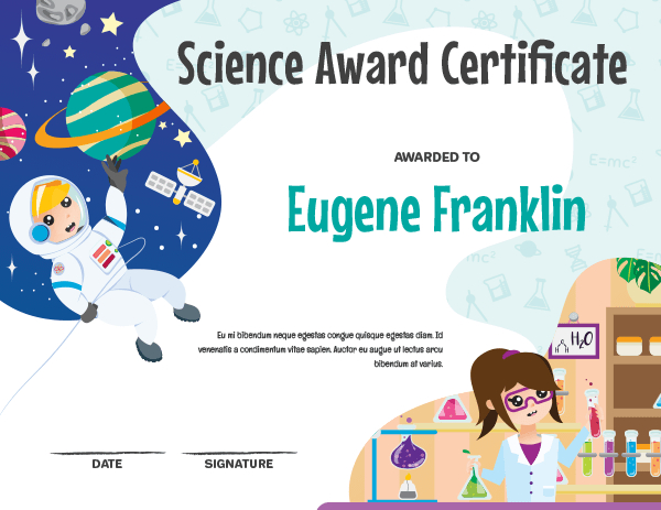 Printable Elementary Science Award Certificate Template Inside Unique Science Award Certificate Templates