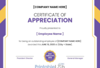 Printable Employee Appreciation Certificate Format In with Unique Employee Appreciation Certificate Template