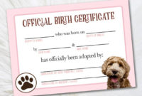 Printable Goldendoodle Adoption Certificate – Certificate Of Adoption –  Official Pet Adoption Certificate Digital Dog Breeders Certificate inside Puppy Birth Certificate Free Printable 8 Ideas